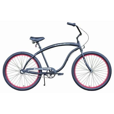 Matt Black w/Red Rims Cruiser Bike