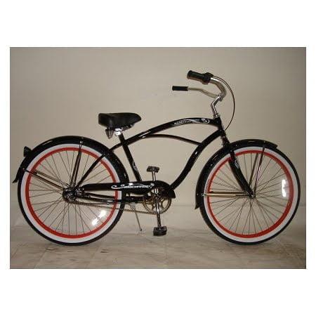 glossy black cruiser bike