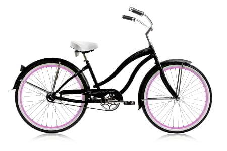 Matt Black Pink Rims Cruiser Bike